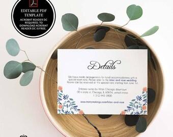info card, info card template, template, printable, information card, printable info card, wedding info card, wedding invitations, pdf, 5