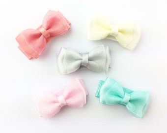 5 Snap Clips Pastel Baby Girl Hair Bows, Baby and Toddler Bows, Mini Bows, Baby Girl Gift, Infant bows, Accessory for Easter Infant Dress