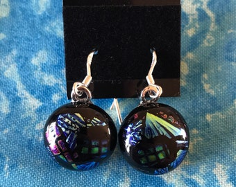 Round dichroic sterling silver earrings