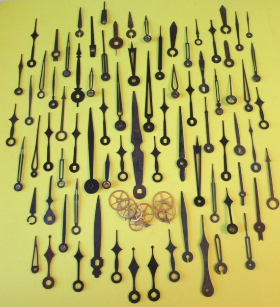 77 Assorted Antique & Vintage Steel Clock Hands for your Clock Projects, Jewelry Making, Steampunk Art