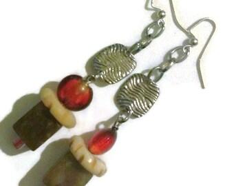 Earrings, dangle earrings, chain earrings, ethnic earrings, gemstone earrings, glass bead earrings, bone earrings