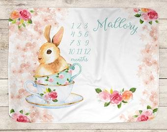 Baby Milestone Blanket, Bunny Tea Party Blanket, Monthly Growth, Milestone Blanket, Personalized Blanket, Baby Name Blanket, Newborn Gift
