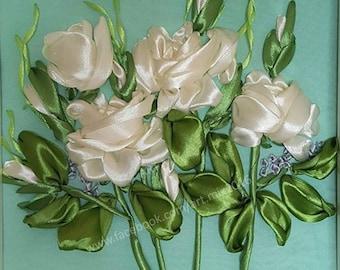 White Roses  // Satin Ribbon Embroidery // Framed // Glass cover // 25cm x 25cm