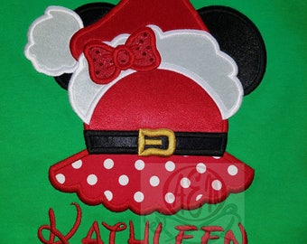 Personalized Mrs Claus Mousehead Shirt (Large Mousehead)