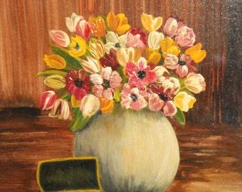 Contemporary naivist oil painting still life