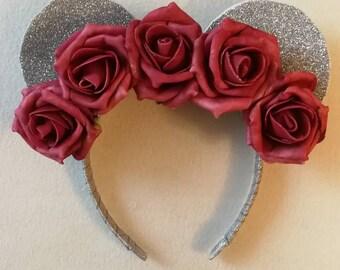 Vintage red rose floral crown Minnie Ears.