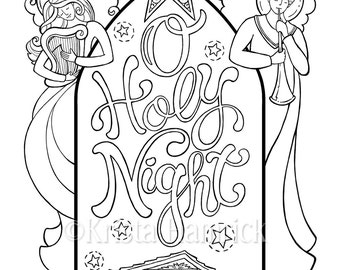 O Holy Night Nativity Scene Coloring Page In Two Sizes 85X11 Bible Journaling Tip 6X8 KristaHamrick