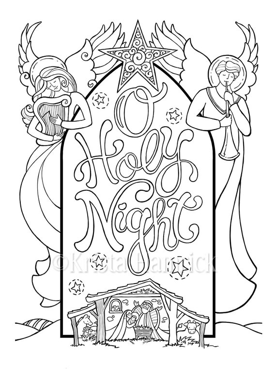 manger scene coloring pages - o holy night nativity scene coloring page in two sizes