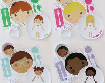 GIRL Personalized Little Me - Dress Up Plate - Personalized Kids Plate - Personalized Plate - Melamine Plate for Kids - Dress Up