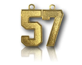 """Number 57 Jersey Style Sports Necklace Charm Pendant (0.8"""" Tall)  GOLD PLATED Football Baseball Basketball Soccer Lacrosse Hockey"""