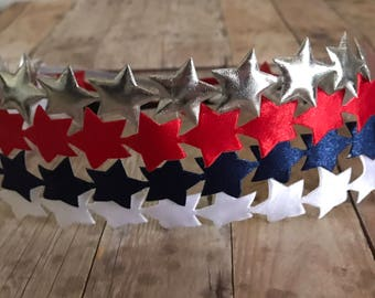 Red White Blue Star Halo Headband // Silver Star Halo Headband // America Headband // 4th of July Headband // Memorial Day Hair Headband