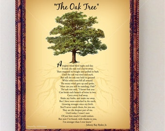 Oak Tree Poem | Encouraging Tree Poem Quote | Nature Wall Art |  Inspirational Wall Art