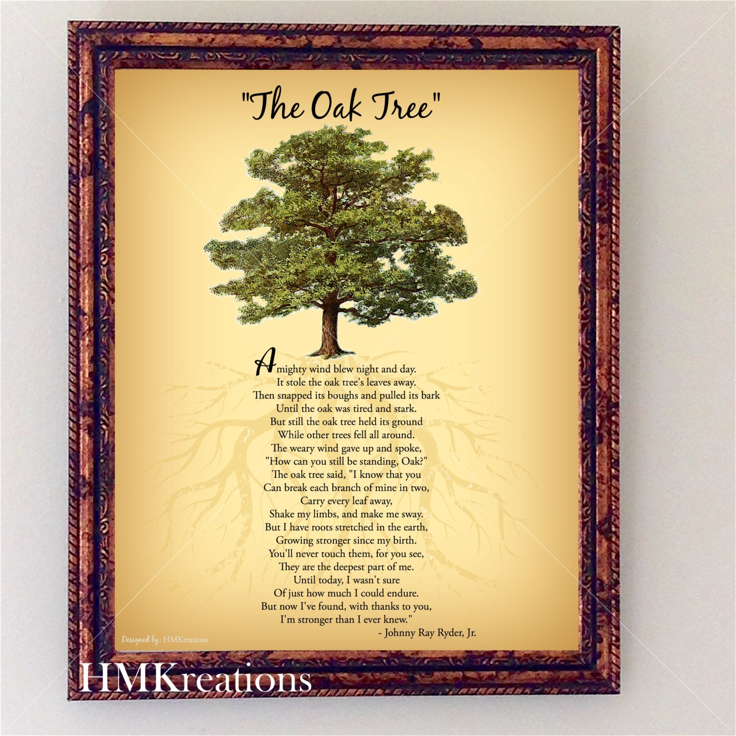 Oak Tree Poem Encouraging Tree Poem Quote Nature Wall Art