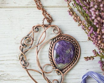 Charoite heart wire wrapped pendant Anniversary gift for her Gemstone wrapping Violet necklace for women Artisan jewelry Heart shaped locket