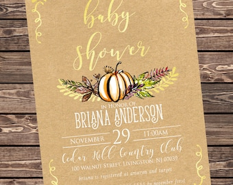 Gold Watercolor Pumpkin Baby Shower Invitation, Kraft Fall Baby Shower Invite, Autumn Gender Neutral Baby Shower Customizable Digital File