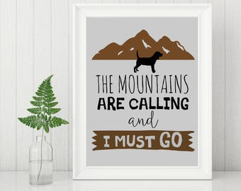 Beagle Art, Living Room Decor, The Mountains are Calling, Beagle Gift, Beagle Print, Wall Art, Home Decor, Housewarming Gift
