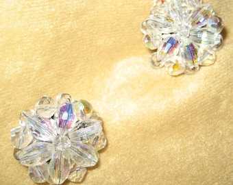 Crystal Earrings Aurora Borealis Sparkling Clip On Style 50s Vintage