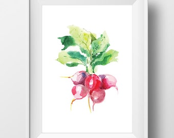Watercolor Radish Print, Radish Art, Kitchen Art, Radish Wall Art, Food Print, Vegetable Print, Kitchen Poster, Kitchen Print, Food Wall Art