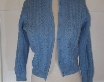 Vintage Blue Cable Knit Cropped Cardigan