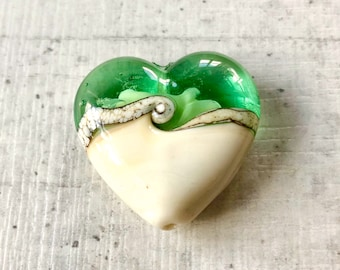 Heart focal lampwork glass bead, light cream and spring green with silvered band, Handmade lampwork glass beads, by GlassBeadArt, SRA F12
