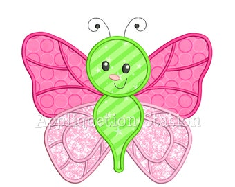 Cute Bugzee Monarch Butterfly #1 with Heart Wings Applique Machine Embroidery Design boy/girl baby insect bug INSTANT DOWNLOAD