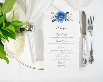 Navy Blue Rose and Gold Foil Food Menu / Bar Menu Handmade also available in Silver, Rose Gold, Copper