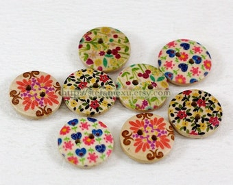 Wooden Buttons - Retro Nordic Floral Button Collection (8 in a set)