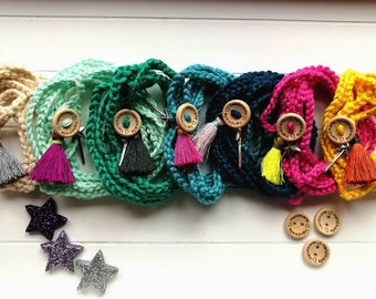 Friendship bracelets, crochet bracelets, for birthday gift, magic wand, colored bracelets, with colored tassel