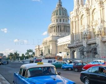 Cuban Cars, Blue Taxi,  Havana Vintage Car, Cuba Photography, Cuban Art, Cuba Car Print, Car Photography, Car Poster, Vertical Wall Art