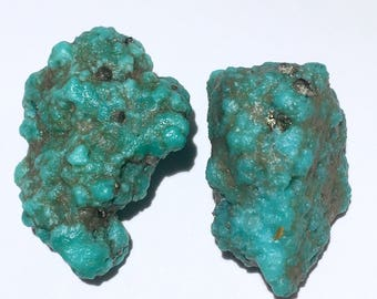 2pc Rare 13.4g Authentic Natural Raw Morenci Turquoise w/ Pyrite Crystal Nugget Set - Morenci, Arizona, USA - Item:TQ17010