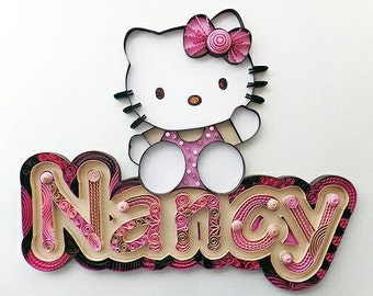 Custom Name Hello Kitty Wall Hanging: Quilling, Girl, Bedroom Decor, Wall Art