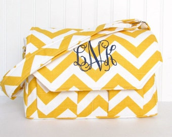 Personalized Chevron Padded Compact Camera Bag in Yellow and Navy Large Canon Rebel T3i EOS 55mm or Digital Monogrammed Bag
