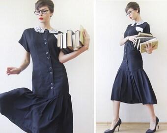 Black white lace collar drop waist school modest midi dress S