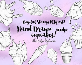 DIGITAL Download--10 Cupcakes, Hand drawn pencil art, drawings- clipart, digital stamps, coloring images. 300dpi