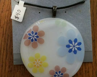 Colored Flowers Fused Glass Pendant