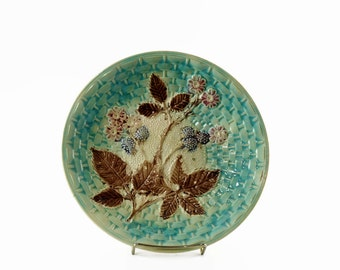 Antique Majolica Plate, Majolica Pottery, Large Majolica Platter with Berries, Country Cottage Decor, 1800s Pottery Plate