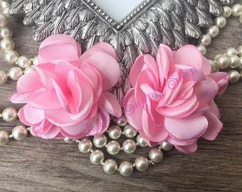 "Set of 2 Baby Pink Satin Puff Flowers - 2"" satin flower - Mini Satin Flower - headband supplies - hairbow supplies"