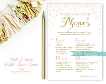 Pink and Gold Bridal Shower Games . What's on Your Phone Game . Bridal Shower Games Printable Instant Download . Glitter Confetti Hearts