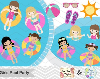 Digital Girl Clipart, Girls Pool Party Clipart, Girls Swim Party Clip Art, Summer Swim Party Clipart, Summer Pool Party Clip Art, 0197