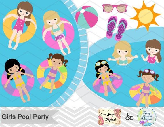 Digital Girl Clipart Girls Pool Party Clipart Girls Swim  Little