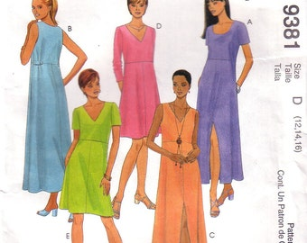 McCall's 9381, Easy McCalls, Misses Dress, Pullover Dress, Size 12, 14, 16, Uncut, Factory Folded