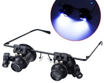 Dual 20X Magnifying eye Glasses w/ led lights Magnifier glass loupe glass magnify close up 20 magnification light, http://1supply.etsy.com