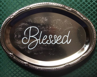 Blessed decorative plate - hand painted - Accent PLATE - decorative plate - wall hanging - silver platter