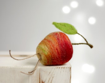Needle Felted Apple - Needle Felt Fruits -  Red Apple - Artificial Fruit - Spring Decor - Gift Idea - Apple Ornament - Wool - Red - Handmade