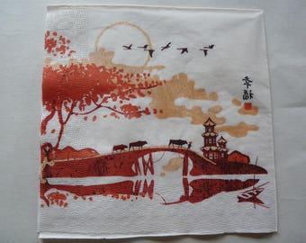 "Asian landscape ""crossing"" paper towel"