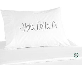Sorority Pillowcase, Handwritten Font, Alpha Delta Pi Shown, 26 NPC Sororities Available