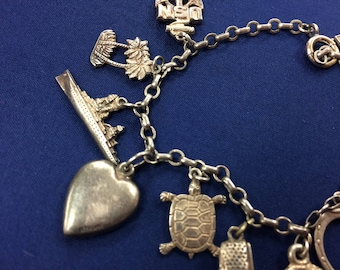 Vintage Sterling Charm Bracelet with 12 Charms #HB104