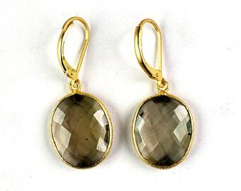 Smoky Quartz Earrings, Oval Shape Earrings, Hoop Earrings,Leverback Earrings GFS1912