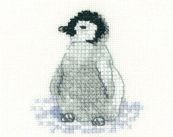 Penguin Chick Cross Stitch Kit from  Heritage Craft Little Friends on 14ct Aida, needlework kit, cross stitch, counted cross stitch kit