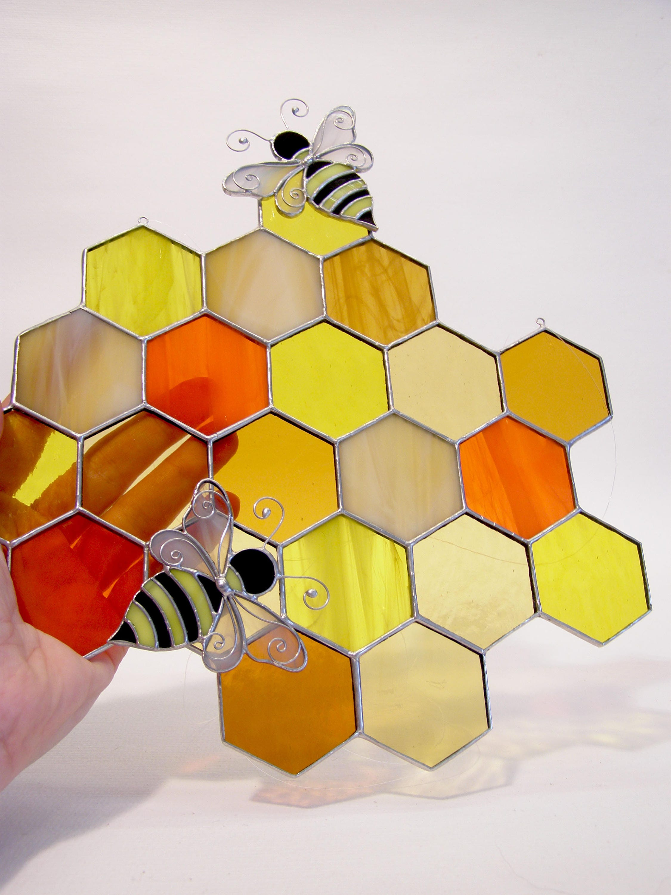 Honeycomb Stained Glass Panel Suncatcher Bumble Bee